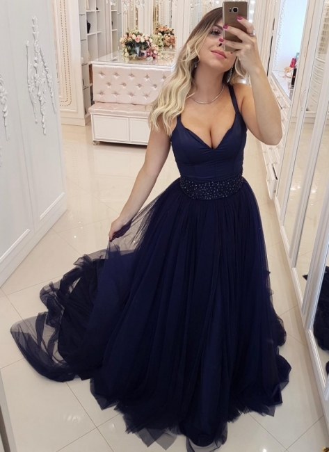 Sexy Dark Navy Spaghetti Straps A-Line Evening Dresses | Beaded Tiered Tulle Long Prom Dresses