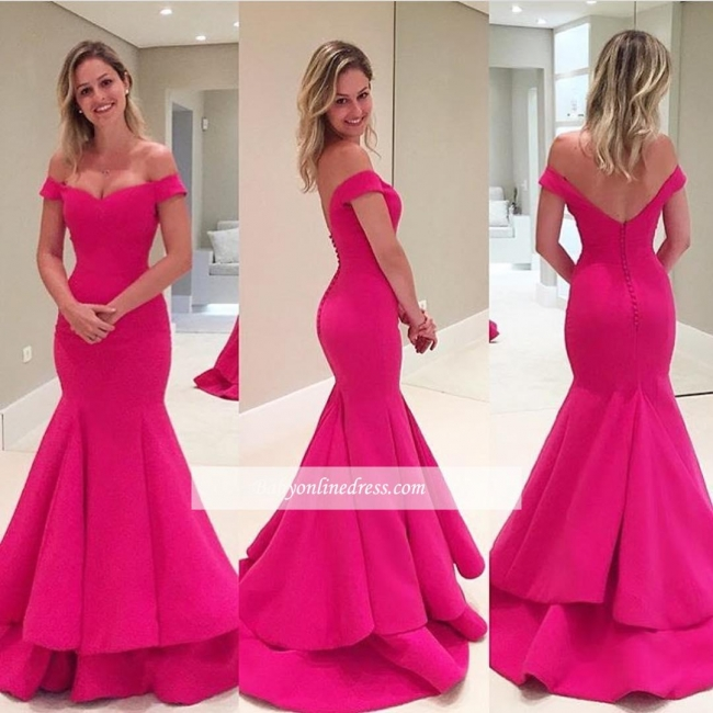 2018 Fuchsia Short Sleeves Tiered Mermaid Off-The-Shoulder Prom Dress BA4239