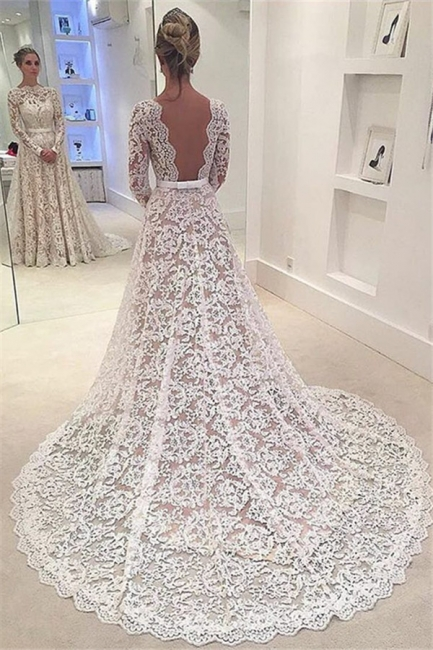 Bowknot Long-Sleeves A-Line Backless Lace Elegant Wedding Dresses