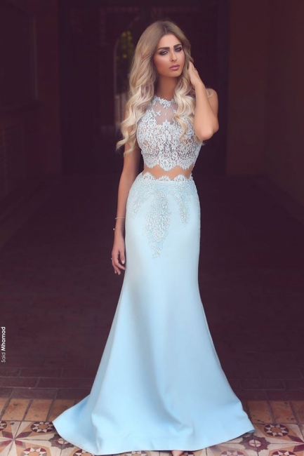New Arrival Two Pieces Mermaid Lace Applqiues Prom Dresses Sleeveless