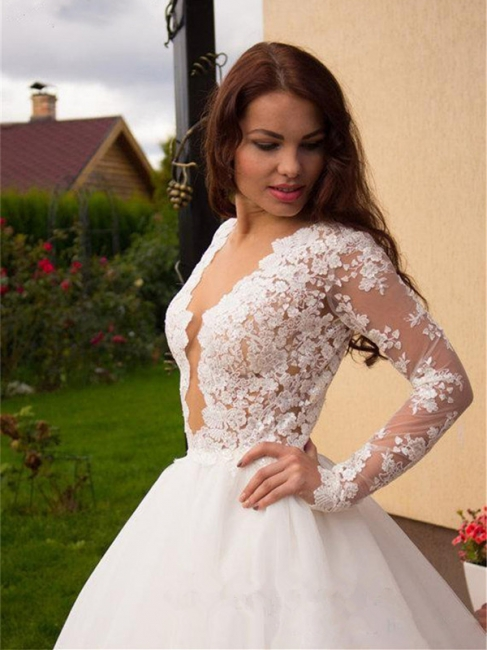 Glamorous Tulle Long Sleeves Lace Princess Wedding Dress with Zipper Button