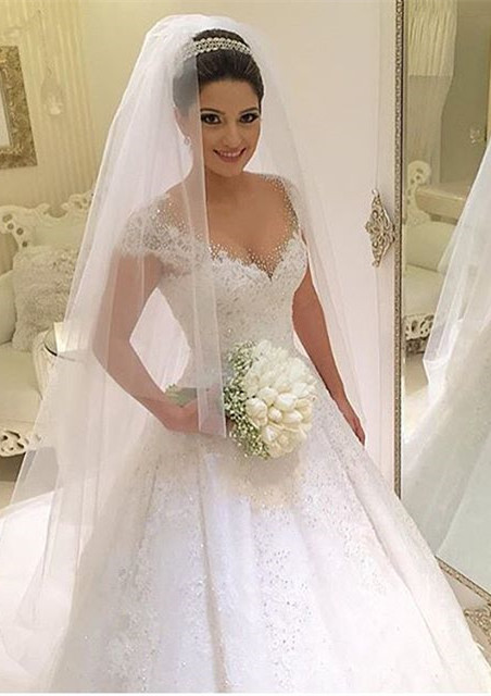 Gown Capped-Sleeves Ball Gorgeous Beading Wedding Dresses