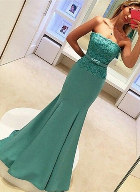 2018 Delicate Strapless Mermaid Prom Dress Sleeveless Lace Evening Gown with Bow