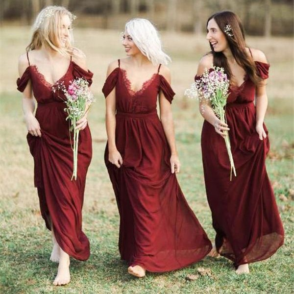 Elegant Burgundy Chiffon Bridesmaid Dresses Off The Shoulder A Line Wedding Party Dress Www Babyonlinedress Co Uk,Summer Outdoor Wedding Summer Casual Wedding Dresses