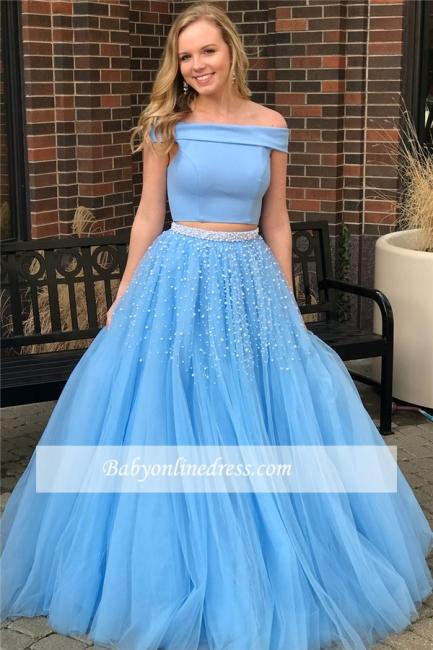Elegant Popular Two-Piece Off-The-Shoulder Blue Beads Evening Dresses