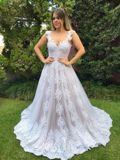 Luxury Pearls Wedding Reception Dress | Scoop Sleeveless Lace Appliques Bridal Gowns Sweep Train