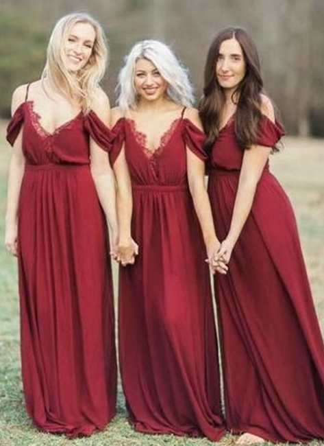 Elegant Burgundy Chiffon Bridesmaid Dresses | Off-the-Shoulder A-line Wedding Party Dress