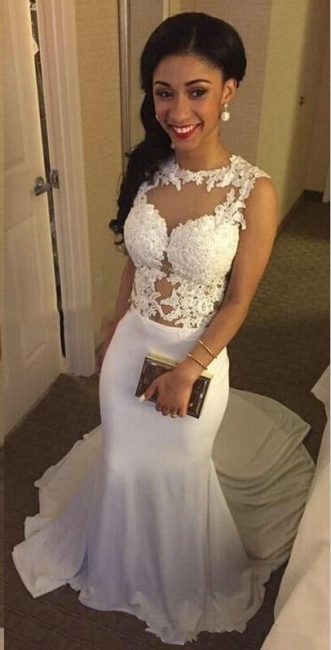 White Sleeveless Lace Appliques Mermaid Wedding Dresses with Court Train