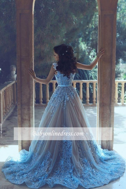 Luxury Appliques 3D-Floral Blue Evening Gowns 2018 A-line Sleeveless Prom Dresses
