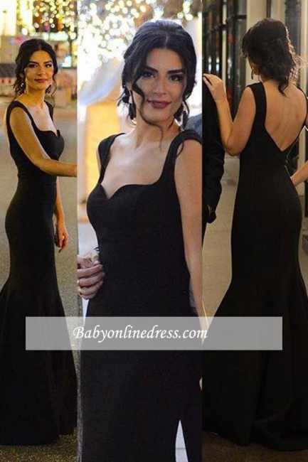 Long Mermaid Sleeveless Black Sexy Backless Evening Gowns