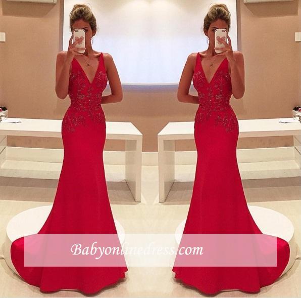 2018 Elegant Long Red V-Neckline Appliques Sleeveless Two-Straps Prom Dress