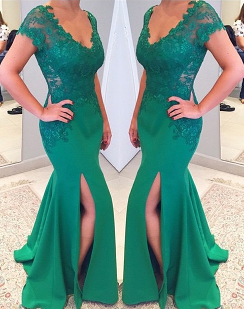Green Short Sleeves V-neckline Evening Gowns 2018 Mermaid Applique Lace Prom Dress
