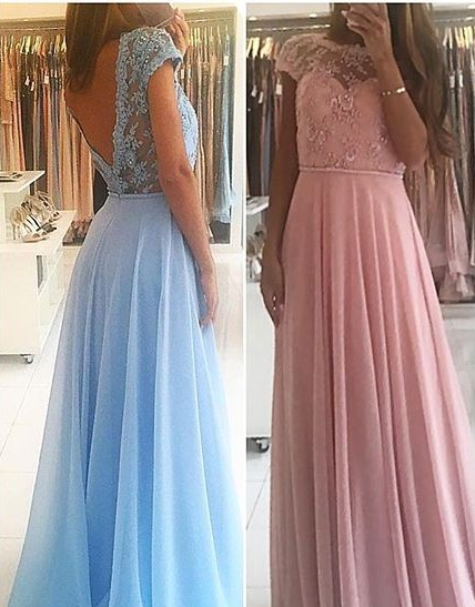 Chic A-line Chiffon Lace Prom Dresses Short Sleeves Floor-length Evening Gowns