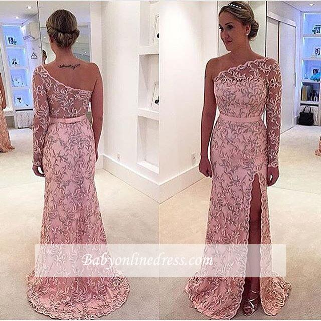 Pink Long Sleeve Pattern Evening Gowns 2018 Long One-Shoulder Prom Dress
