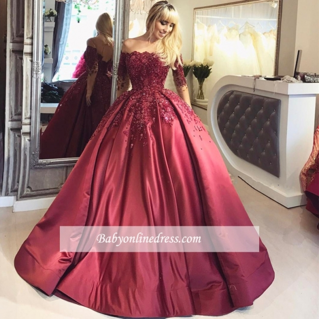 Burgundy Prom Dresses Long Sleeves Ball Off-the-Shoulder Formal Gown