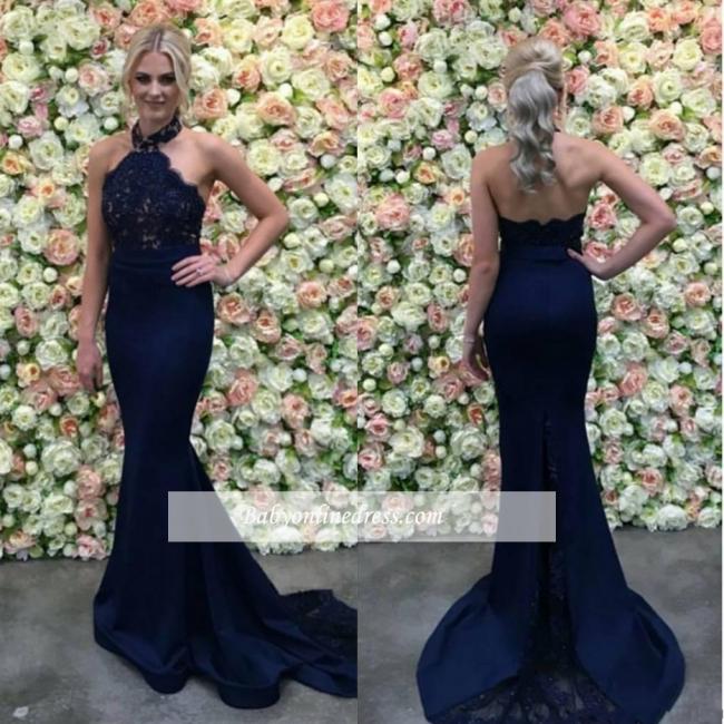 Lace Long Halter Navy Appliques Gorgeous Mermaid Evening Dress 2018