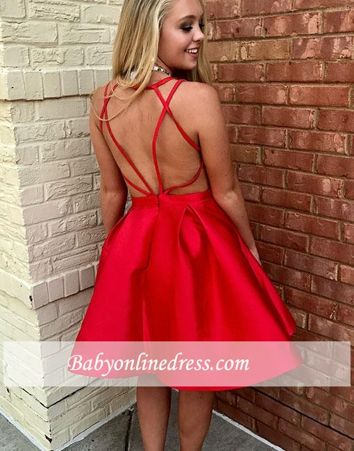 Red Short A-line Sleeveless Simple V-neck Evening Dress