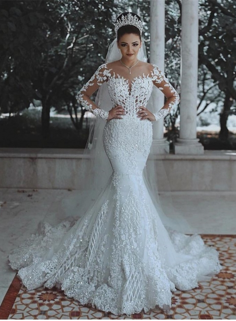 Fashion Jewel Long Sleeve Applique Crystal Mermaid Wedding Dresses