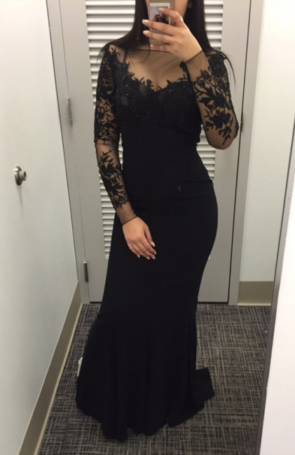 2018 Black Mermaid Long-Sleeves Lace Appliques Prom Dress