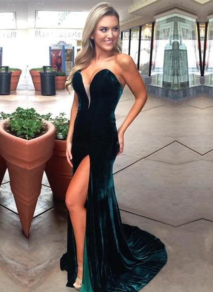Dark Green Velvet Prom Dresses | Sexy Side Slit Evening Gowns