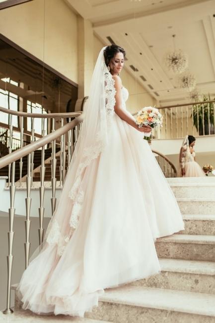Elegant Lace Sweetheart Princess Tulle Beadings Wedding Dresses