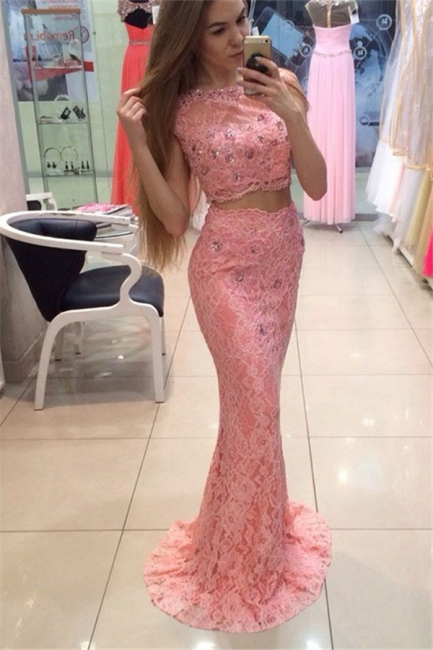 Scoop Cape-shoulder Floor-length Lace Crystal Mermaid Prom Dresses