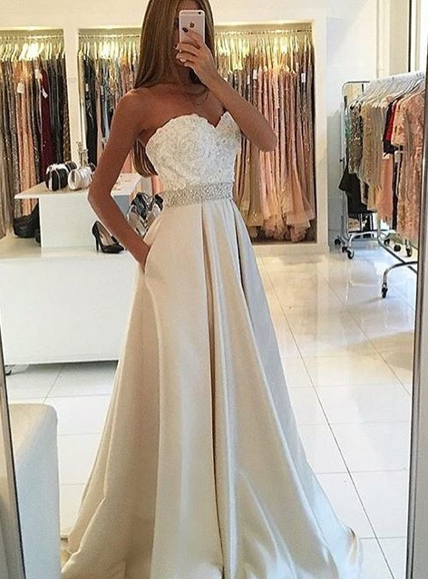 New Arrival Lace Sweetheart Prom Dresses A-line Evening Train BA4858
