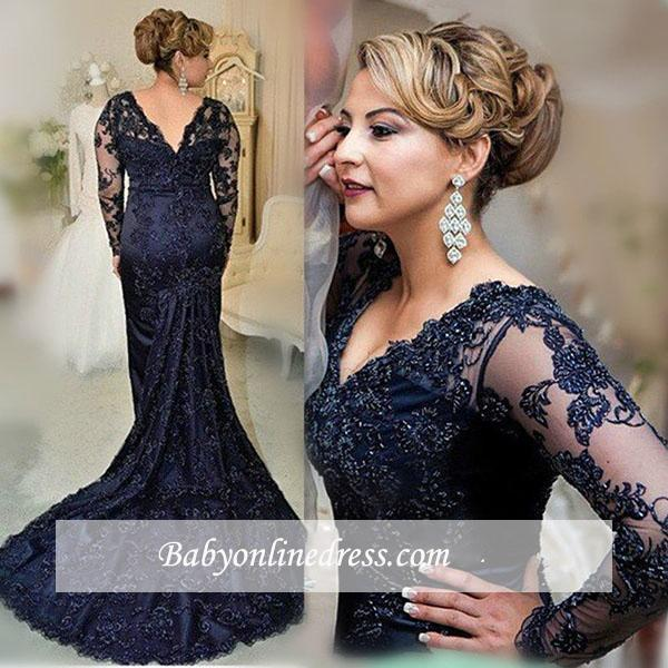 2018 Gorgeous Navy Long Sleeve Appliques Sweep Train Lace Evening Dress with Zipper BA4088