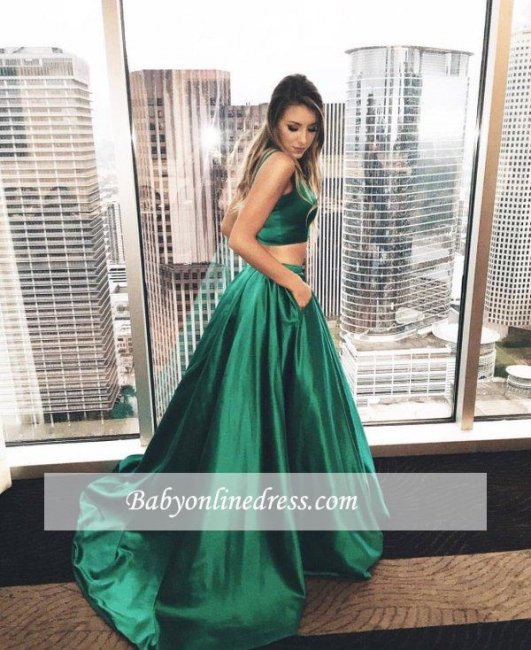 Two-Piece Straps Prom Dress Sleeveless A-line Evening Gowns