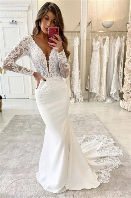 Simply Style Deep V Neck Long Sleeve Lace Fitted Mermaid Wedding Dresses