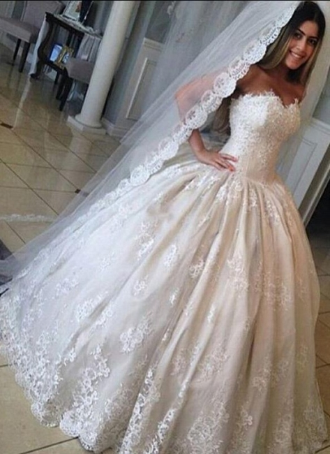 Gorgeous Lace Sweetheart Wedding Dresses Princess Ball-Gown Bridal Gowns