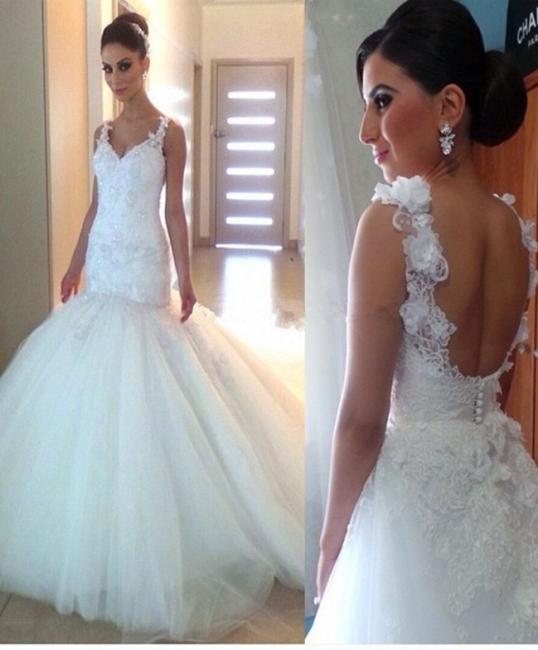 Elegant Appliques Tulle Open Back V-Neck Trumpet Wedding Dresses