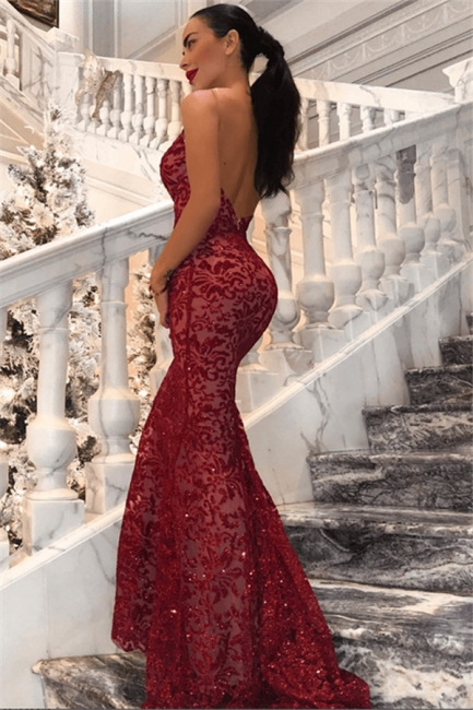 Sexy Red Straps Lace Mermaid Floor Length Prom Dresses| V Neck Long Evening Gown