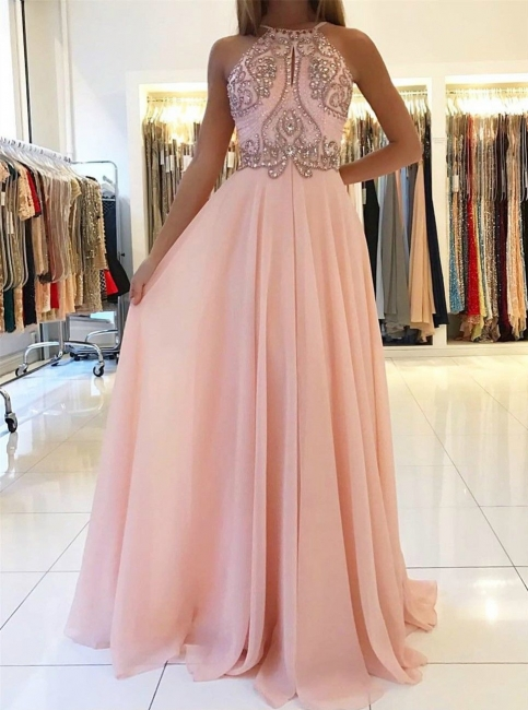New Crystals Pink Prom Dresses | Halter Neck A-line Formal Dresses