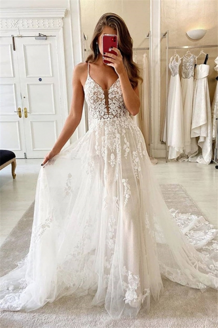 Simply Spaghetti Strap Lace Floor Length  A Line Wedding Dresses