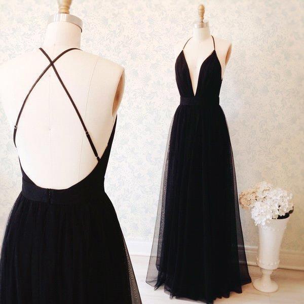 Sexy Black Prom Dresses Plunging V Neck Side Slit Evening Gowns