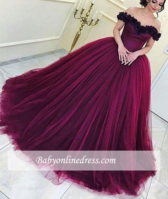 Tulle Appliques Long Ball-Gown Sleeveless Off-the-Shoulder Prom Dresses
