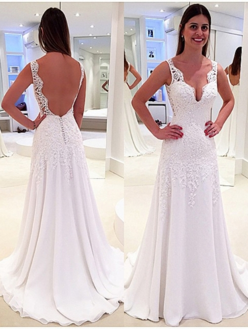 Elegant A-Line Wedding Dresses | V-Neck Sleeveless Lace Appliques Open Back Bridal Gowns