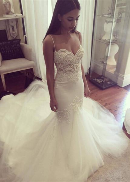 Mermaid Wedding Dresses Spaghettis Straps Delicate Lace Appliques Bridal Gowns