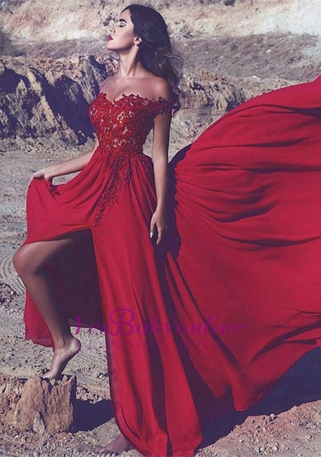 Lace Appliques Off-the-Shoulder Red Split Long Prom Dress