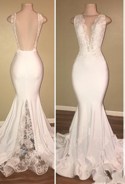 Elegant Long Mermaid Prom Dresses | V-Neck Backless Lace Evening Gowns
