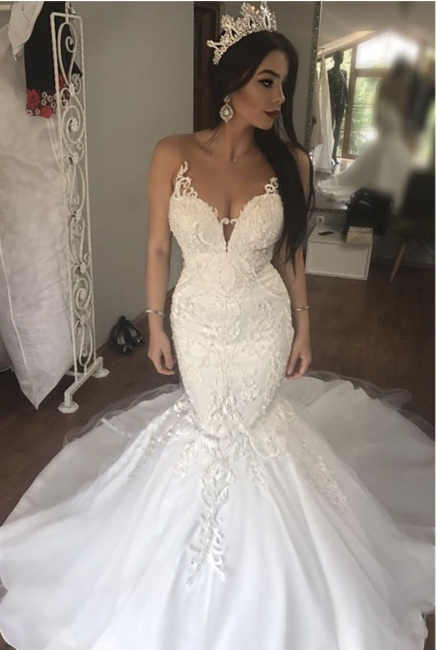 Sexy Lace Mermaid Beach Wedding Dresses | See Through Illusion Back Bridal Dresses