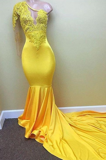 Shiny Yellow Mermaid Prom Dresses | One Sleeve Lace Evening Gowns