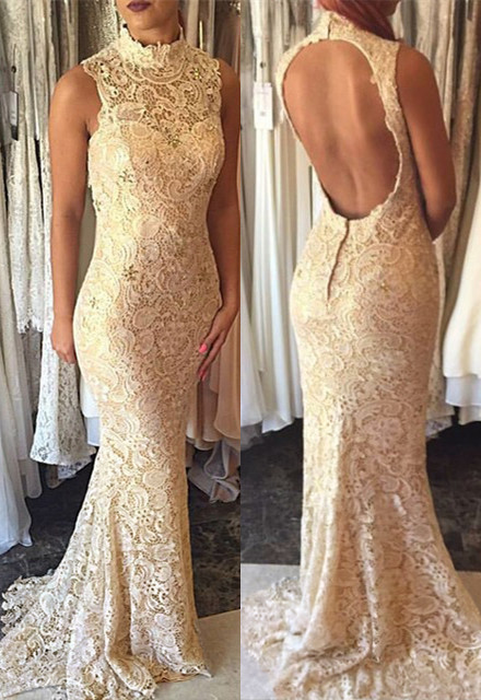 Elegant High-Neck Mermaid Open-Back Prom Dress 2018 Lace Sleeveless Evening Gowns