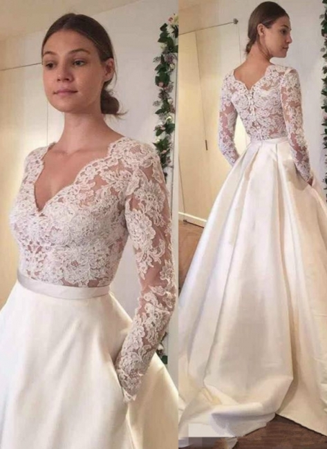 Elegant A-line Wedding Dresses | Long Sleeves Puffy Bridal Gowns with Pockets