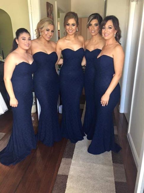 Lace Mermaid Bridesmaid Dresses Dark Navy Blue Long Wedding Party Dresses
