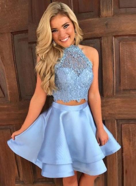 Cute Two-Piece Homecoming Dresses | Blue Halter Neck Hoco Dresses