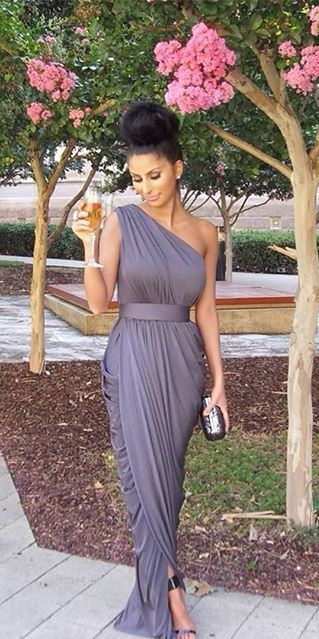 One Shoulder Long Bridesmaid Dresses Grey Ruffles Formal Evening Gowns