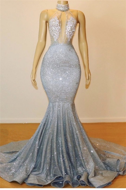 Mermaid Lace Appliques Prom Dresses |Elegant Halter Sleeveless Party Dresses