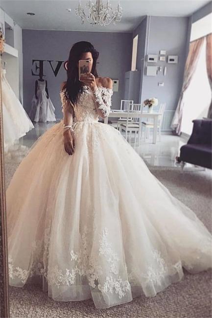 Graceful Off The Shoulder Long Sleeve Applique Ruffles Floor Length Ball Gown Wedding Dresses